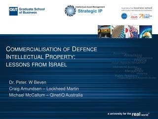 Commercialisationof Defence Intellectual Property: lessons from Israel