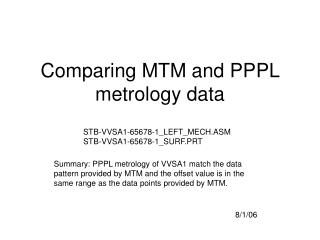Comparing MTM and PPPL metrology data