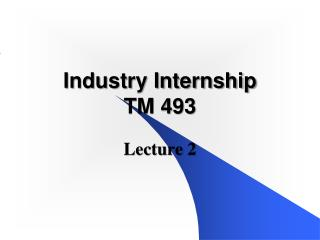 Industry Internship TM 493