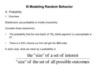 III Modeling Random Behavior Probability Overview
