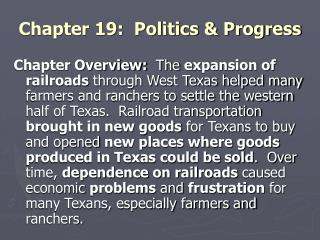 Chapter 19: Politics & Progress