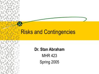 Risks and Contingencies