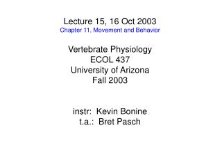 Lecture 15, 16 Oct 2003 Chapter 11, Movement and Behavior Vertebrate Physiology ECOL 437