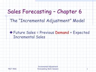 Sales Forecasting – Chapter 6