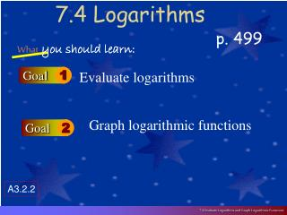 7.4 Logarithms