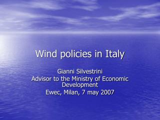 Wind policies in Italy