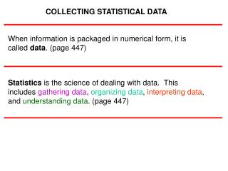 COLLECTING STATISTICAL DATA