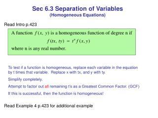 Sec 6.3 Separation of Variables (Homogeneous Equations)