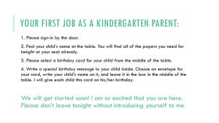 Your First job as a kindergarten parent: