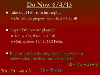Do Now 6/4/13