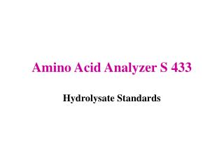 Amino Acid Analyzer S 433