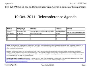 19 Oct. 2011 - Teleconference Agenda