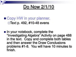 Do Now 2/1/10