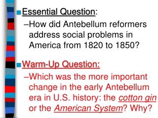 Antebellum Reform PowerPoint