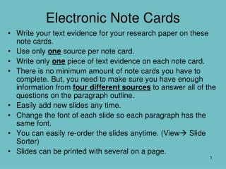 Electronic Note Cards