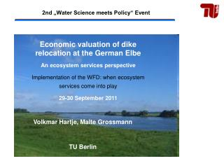 "2nd "" Water Science meets Policy"" Event"