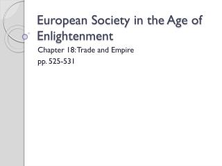 European Society in the Age of Enlightenment