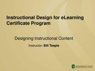 Instructional Design for eLearning  Certificate Program