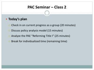 PAC Seminar – Class 2
