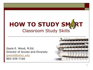 HOW TO STUDY SM RT Classroom Study Skills
