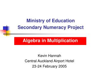 Ministry of Education Secondary Numeracy Project