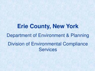 Erie County, New York Department of Environment & Planning