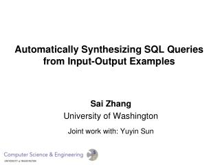 Automatically Synthesizing SQL Queries from Input-Output Examples