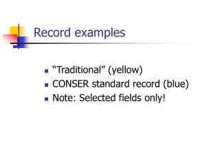 Record examples