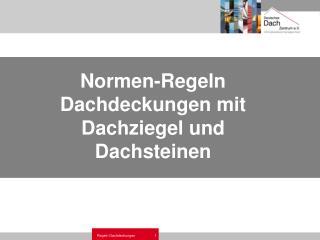 Normen-Regeln Dachdeckungen mit Dachziegel und Dachsteinen