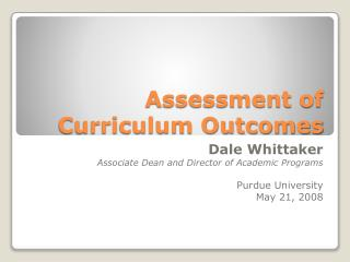 Assessment of Curriculum Outcomes