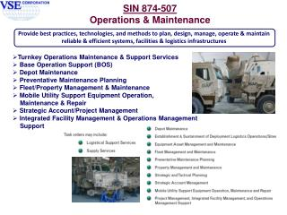 Turnkey Operations Maintenance & Support Services  Base Operation Support (BOS)  Depot Maintenance