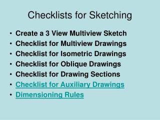Checklists for Sketching