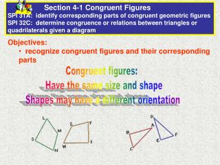 Objectives:   recognize congruent figures and their corresponding parts