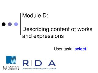 Module D: Describing content of works and expressions
