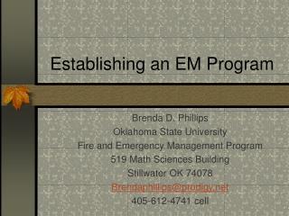 Establishing an EM Program