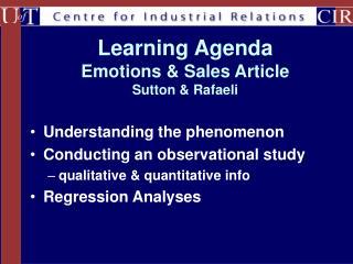 Learning Agenda Emotions & Sales Article Sutton & Rafaeli