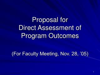 Proposal for Direct Assessment of Program Outcomes
