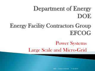 Department of Energy DOE Energy Facility Contractors Group EFCOG