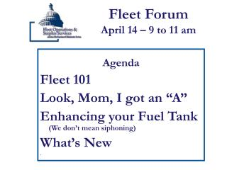 Fleet Forum April 14 – 9 to 11 am