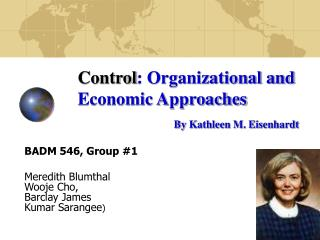 Control : Organizational and  Economic Approaches By Kathleen M. Eisenhardt