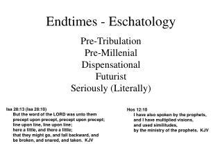 Endtimes - Eschatology