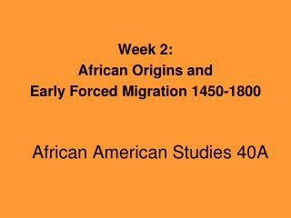 African American Studies 40A