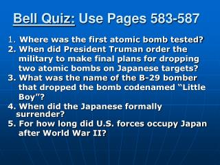 Bell Quiz:  Use Pages 583-587