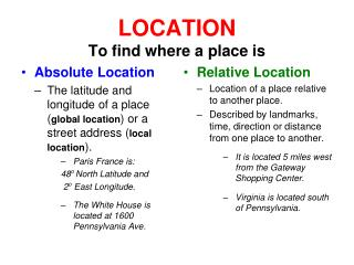 LOCATION To find where a place is