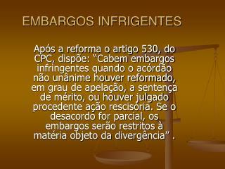 EMBARGOS INFRIGENTES