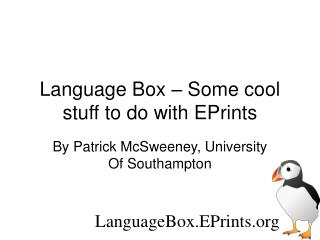 Language Box – Some cool stuff to do with EPrints