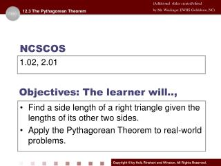 Objectives: The learner will..,