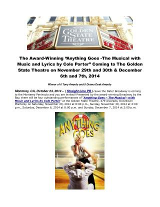 The Award-Winning Anything Goes -The Musical with Music