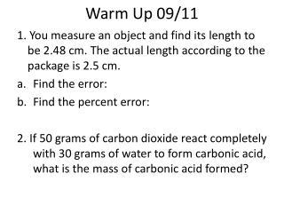 Warm Up 09/11