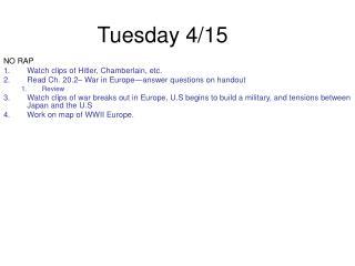 Tuesday 4/15